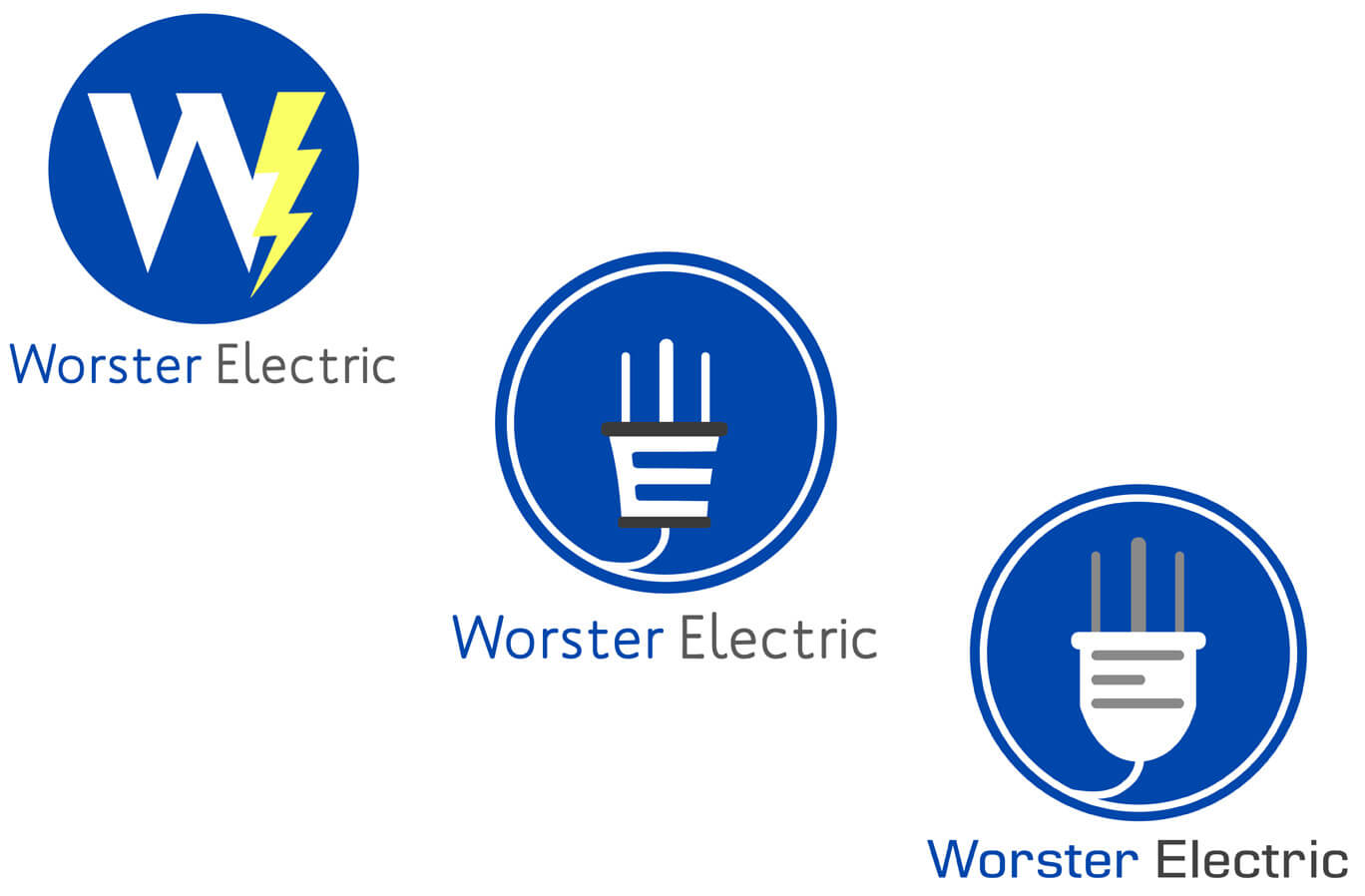 Worster Electric Logo Design Mockups